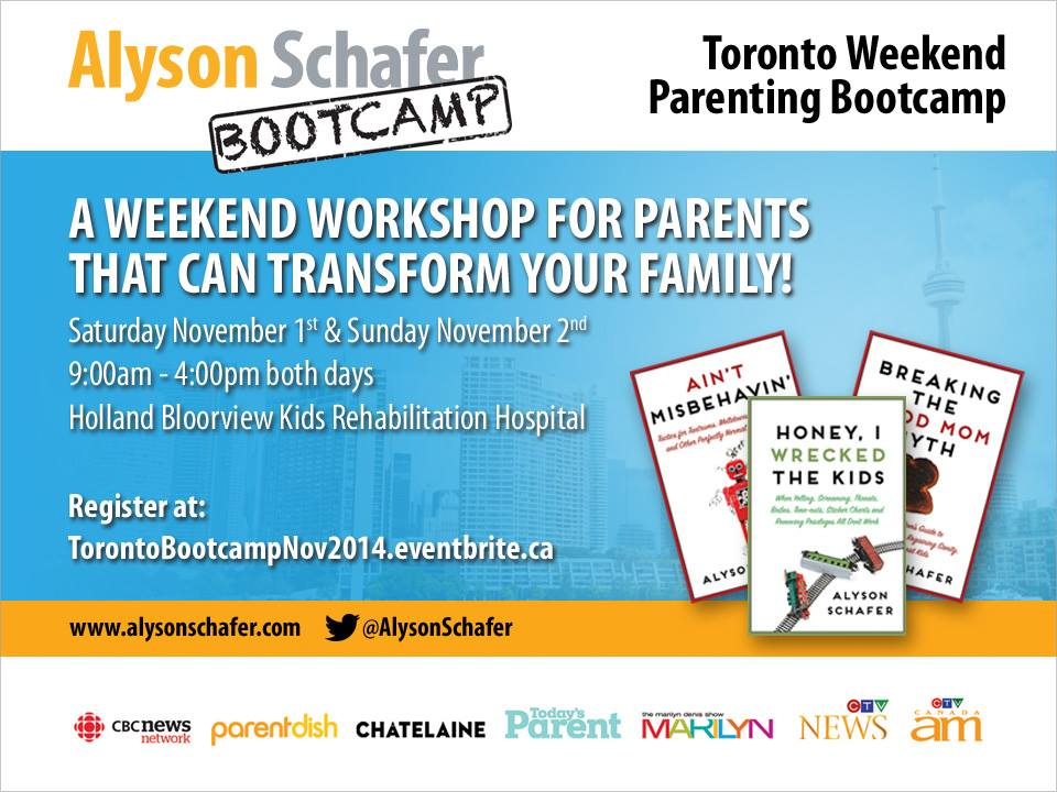 Join Alyson Schafer's Parenting Boot Camp in Toronto this November