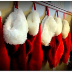 Red Christmas Stocking Lined up