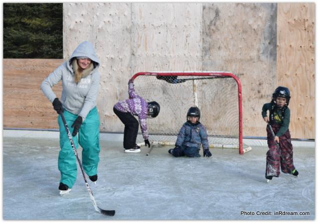Canadian Backyard Ice Rink. Mommy Skating