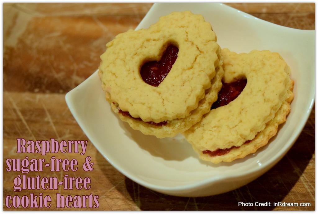 Raspberry sugar-free cookie hearts, Gluten-Free Cookies, Sugar-Free Gluten-Free Cookies,  Xylitol Xyla