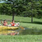 Kids Canoeing, Splashing in the pond. Kawartha Lakes Pond, Country living in Kawartha Lakes
