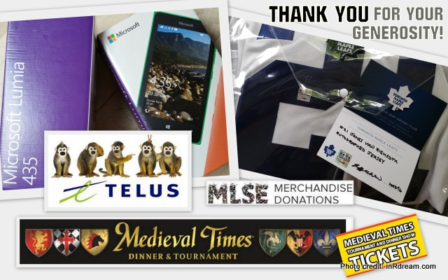 Telus gives back, Medieval Times gives back, MLSC gives back, MLSC donations, Signed Leaf Jersey